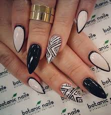 gel nail designs for fall 2014. almond shaped white and black acrylic nail gel designs for fall 2014