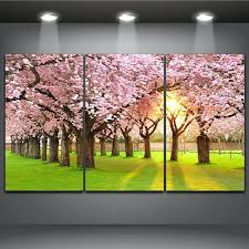 cherry blossom tree painting tree cherry blossom in the morning light beautiful landscape 3 panels oil cherry blossom tree painting