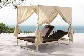 Polo Modern Outdoor Double Beach Bed with Canopy