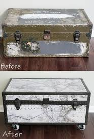 Military Footlocker Transformation into Toy storage trunk. Mod podge  vintage maps