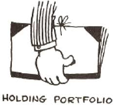 drawing cartoon hands holding portfolio books folders
