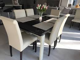 glass dining table with 8 chairs