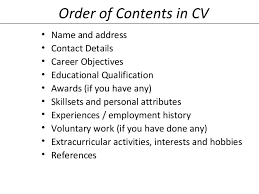 47. Order of Contents in CV ...