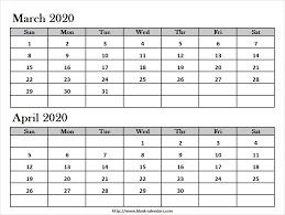 March April 2020 Calendar Template Print Blank Calendar