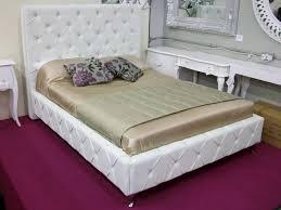 king size bed mayfair white faux leather diamanté effect