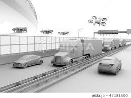 高速道路に走行している燃料電池トラック配達ドローンと空飛ぶ車の