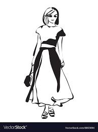 Fashion Girl Sketch Vector Image On Vectorstock