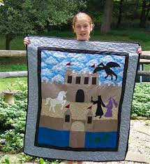 how to make an applique quilt, learn to quilt, learn different ... & Appliqued Quilt with Castle and Dragon, how to applique. Adamdwight.com