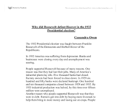 why did roosevelt defeat hoover in the presidential election  document image preview