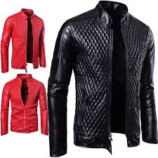 details about mens leather jacket coat slim zip cool trendy outwear motorcycle biker plus size