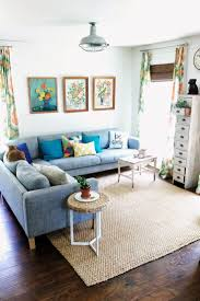 ... Living Room, Ikea Living Room Ideas With Rottan Carpet And Blue Sofa  And Cushion And ...