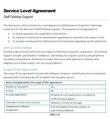 Simple Service Contract Basic Service Level Agreement Template