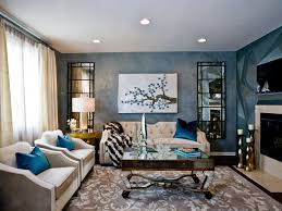 Cozy Blue Theme Art Deco Living Room With Mirrored Coffee Table (Image 9 of  20
