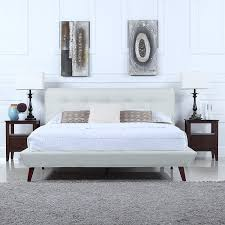Mid-Century Ivory Linen Low Profile Platform Bed Frame with Tufted ...
