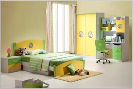 Modern Children Bedroom Awesome Green Yellow Wood Glass Modern Design Boys Kids Bedroom