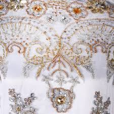 Embroidery Fabric Design Hand Embroidered Fabric Design 4009 Pure White Per Yard