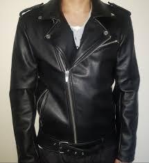 zara man black leather biker jacket sz medium m mens
