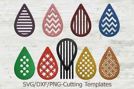 faux leather earrings set svg tear drop pendant cut template example image 1