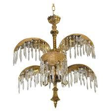 mid century italian six arm brass palm leaf crystal chandelier at regarding incredible household brass and crystal chandelier designs