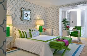 Ana Cordeiro: Fun, colorful bedroom with Thibaut Filigree Julian Wallpaper  in Blue on White and ivory . by Emel