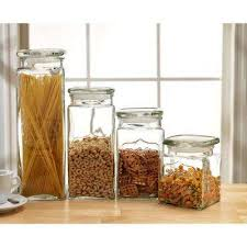 yorkshire 4 piece glass canister set with glass lids