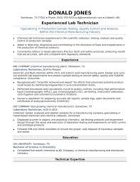 Midlevel Lab Technician Resume Sample Monster Comustry Profile