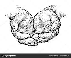 чашевидный руки эскиз винтажные векторные иллюстрации изолированные