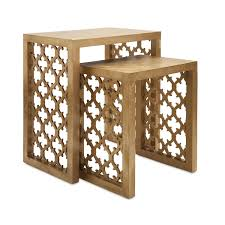 Nesting Tables Nesting Tables Marble And Iron Acacia Wood Oriental For