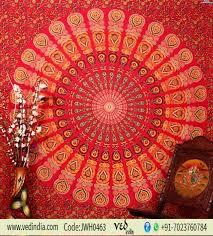 red twin bird wing hippie mandala boho dorm wall tapestry bedding