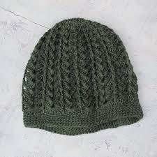 handmade alpaca wool green hat green andes