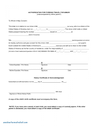 Letter Of Consent For Travel Of A Minor Child Template Examples