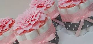 baby shower centerpieces four pink and gray flowers mini diaper cake baby shower centerpiece