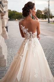 2017 a line light champagne wedding dresses lace sheer tulle