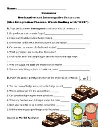 You will find all levels of phonics printable worksheets. Sentences Declarative And Interrogative Also Phonics Words That End With Dge Worksheet