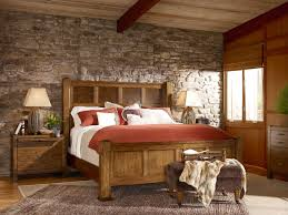 rustic elegant bedroom designs. Natural Stone Wall In Rustic Bedroom Ideas With Wide Bed And Simple Maple Nightstands Elegant Designs
