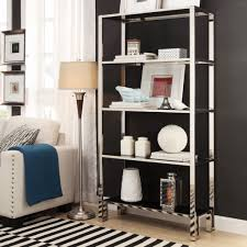 Inspire Q Alta Vista Black + Chrome Metal Single Shelving Bookcase Chrome  Bookshelves Amazing Chrome Bookshelves