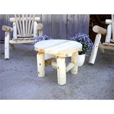 rustic round end table. White Cedar Log Rustic Round End Table N