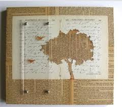 like the negative e birds and tree negative cut from aged white paper over yellowed book newspaper