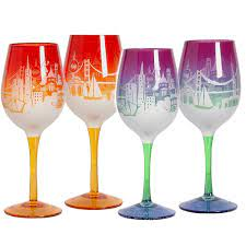 San Francisco Skyline Wine Glass by SF Mercantile