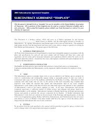 Subcontractor Contract Template Free Sub Contractor Agreement Templates At Allbusinesstemplates 16