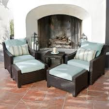 deco garden furniture. RST Brands Deco 5-Piece Wicker Frame Patio Conversation Set With Bliss Blue Cushions Garden Furniture D