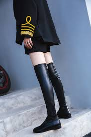 Designer Over The Knee Boots Sale Womens Genuine Leather Black Slim Stretch Over The Knee