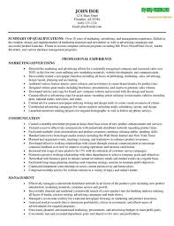 Marketing Summary Of Qua Ifications Resume Sample Marketing Resume