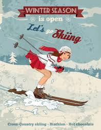 vintage pin up girl skiing poster l and stick fabric wall sticker by wallmonkeys wall decals 24 inches h x 19 inches w in on m alibaba