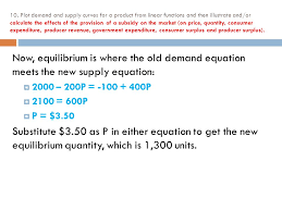 plot demand and supply curves for a from linear functions and then ilrate