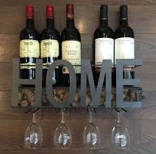 wall mounted metal wine rack 4 long stem glass holder wine cork storage by