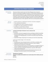 30 Fresh Construction Project Manager Resume Examples Free Resume