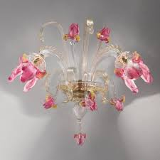 delizia 2 lights pink flowers murano glass wall sconce