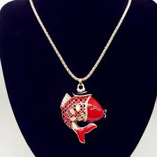 every year there are fish red pendant necklace sweater chain long clothes pendant 0