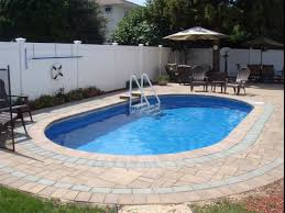Simple Design of Backyard with Amazing Minimalist Inground Swimming Pool,  Oval Shaped Pool Design,
